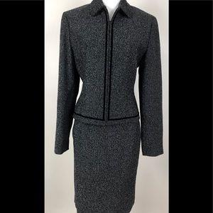 Ann Taylor sz 6 Wool suit skirt jacket black gray
